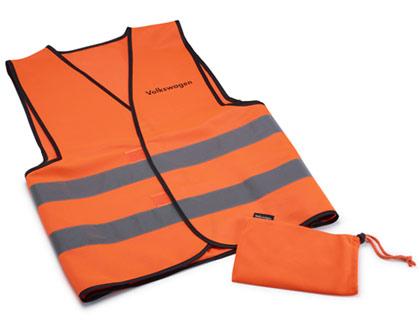 Chaleco de señalización AO, naranja, en bolsa de tela con inscripción