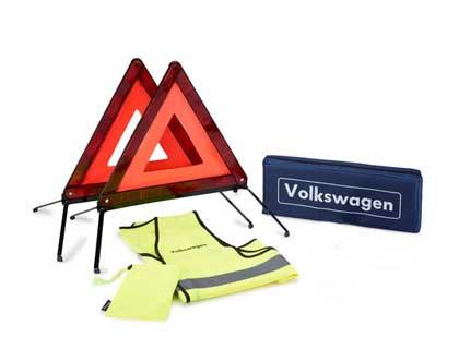 Paquete de seguridad para asistencia en carretera 2 triángulos de señalización, 1 chaleco reflectante amarillo