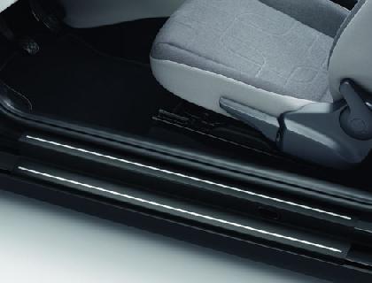 Lámina protectora para listones de acceso Negro con rayas plateadas, 4 puertas