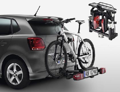 Portabicicletas para el dispositivo de remolque 2 bicicletas, abatible, plegable, Compact II, volante a la izquierda