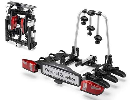 Portabicicletas para el dispositivo de remolque 3 bicicletas, abatible, plegable, Compact III, volante a la izquierda