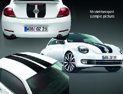 Lámina decorativa Diseño de líneas, 2 líneas redondeadas, negro, solo para vehículos con techo solar panorámico inclinable