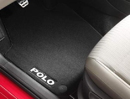 Alfombrilla textil delante y detrás, negro, Premium con inscripción