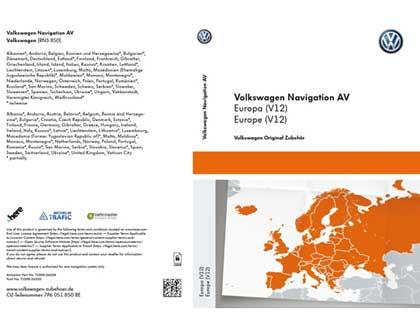 Documento de activación para la funcionalidad de la navegación Volkswagen Navigation AV, Europa (V12), RNS850