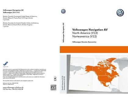 Documento de activación para la funcionalidad de la navegación Volkswagen Navigation AV, Norteamérica (V12), RNS850