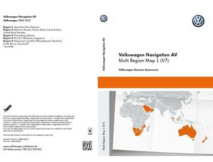 Documento de activación para la funcionalidad de la navegación Volkswagen Navigation AV, Multi Region Map1 (V7), RNS850