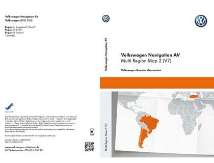 Documento de activación para la funcionalidad de la navegación Volkswagen Navigation AV, Multi Region Map 2 (V7), RNS850